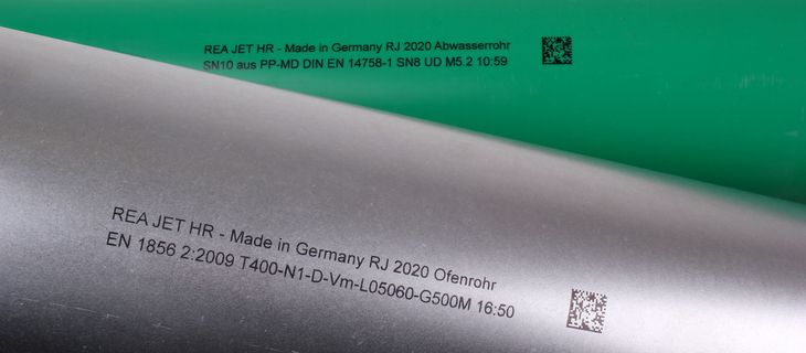 Industrial marking of tubes with human readable text and data matrix code - REA JET